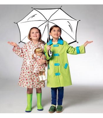 Pattern K3941 girls rain coat