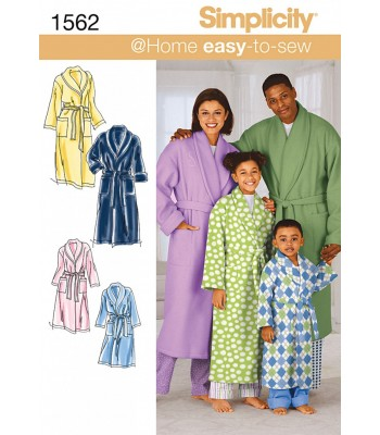 Pattern 1562 Unisex Child's, Teen's and Adult's Dressing gown and belt