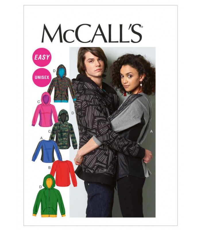 Pattern M6614 Unisex top and hooded jacket