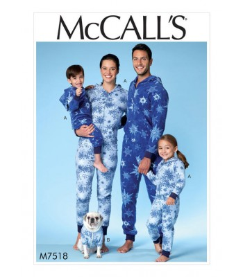 Pattern M7518 Unisex Child, Adult and Dog Onesie
